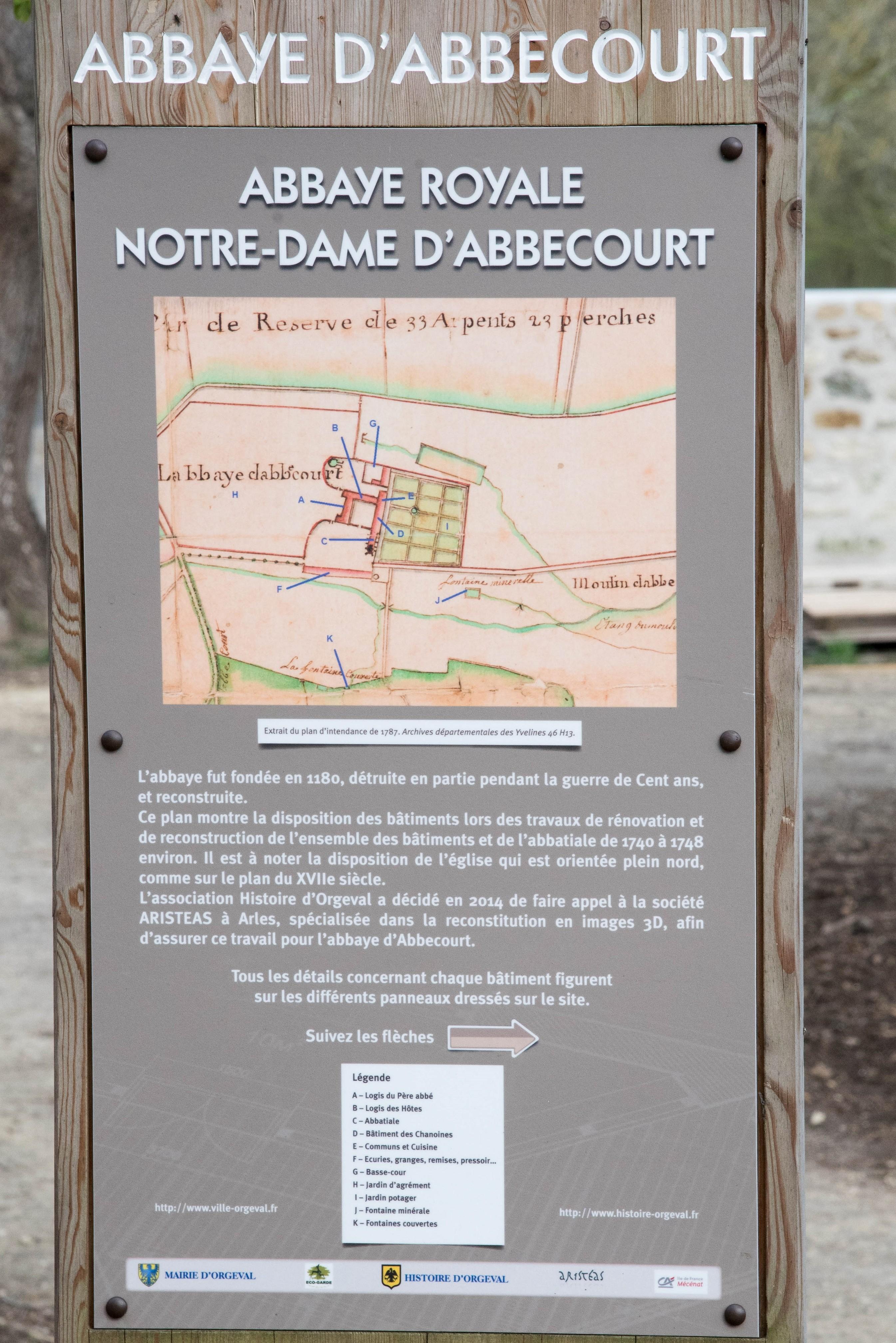 Panneau de présentation de l'abbaye